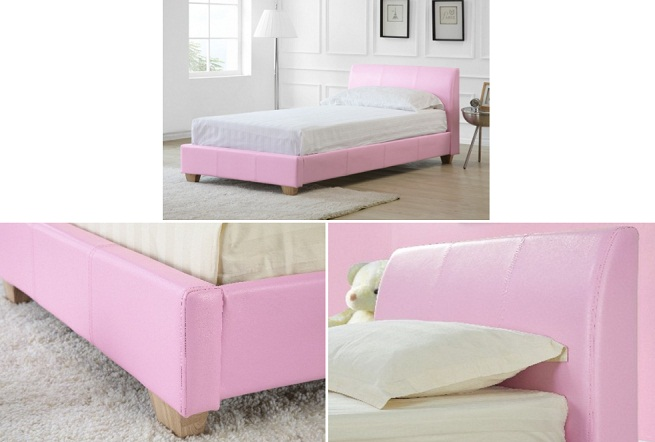 Cama de cuero de color rosa - Camas de cuero ...