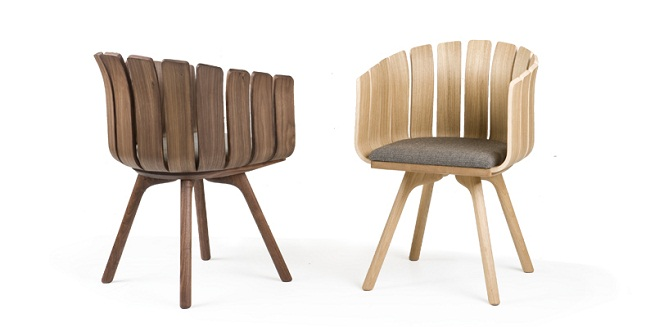 Silla de madera con forma de flor revista muebles for Disenos de sillas de madera