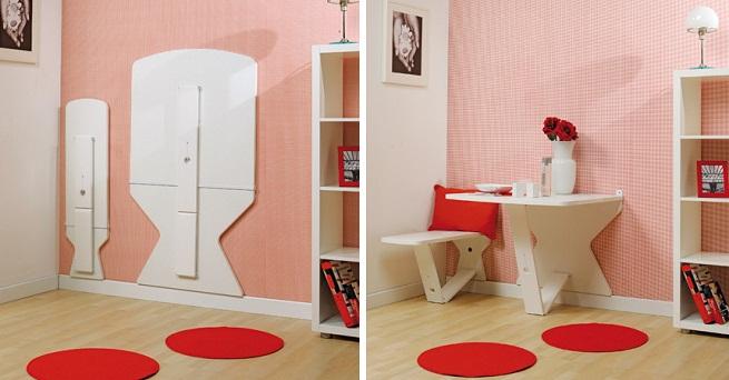 Mesa que se oculta en la pared revista muebles - Mesa plegable pared ...