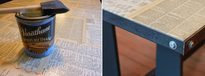 Mesa forrada de p ginas hazla t mismo - Como forrar una silla de escritorio ...