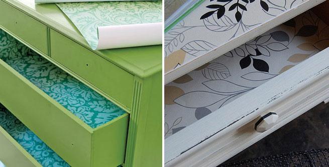Forrar cajones con tela o papel revista muebles for Papel para forrar muebles de cocina