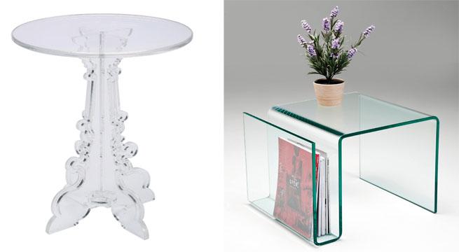 Mesitas auxiliares en metacrilato y cristal revista muebles mobiliario de dise o - Mesas de metacrilato ...