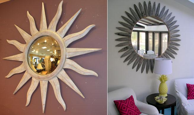 Espejo vintage con forma de sol revista muebles for Espejos redondos con marco de madera