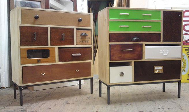 Muebles hechos con cajones reciclados revista muebles for Muebles reciclados de diseno