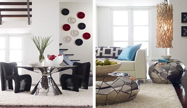 as son los muebles de la serie crazycut de phillips collection un conjunto de piezas que estn revestidas con mosaicos brillantes de acero inoxidable
