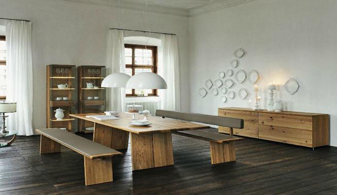 Comedores modernos con muebles de madera for Comedores modernos con banca