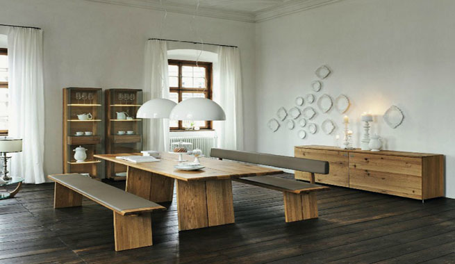 Comedores modernos con muebles de madera - Bancos de comedor ...
