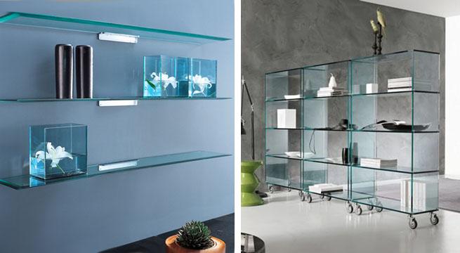 Librer as y estanter as de cristal revista muebles - Baldas de diseno ...