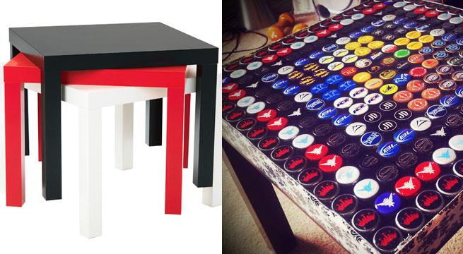 Mesa lack tuneada con chapas y resina revista muebles - Recibidores originales reciclados ...
