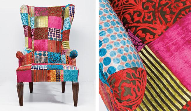 Muebles tapizados en patchwork - Telas para tapizar un sillon ...