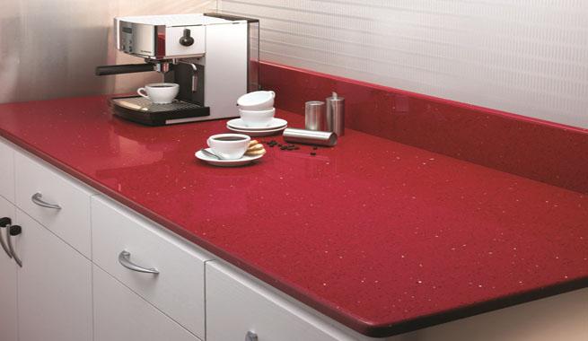 Encimera de cocina de color rojo brillante revista - Colores de granito para encimeras ...