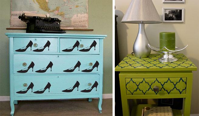 Decorar muebles con estarcidos originales revista - Pegatinas para decorar muebles ...