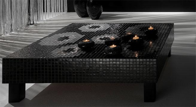 Muebles forrados con azulejo de vidrio - Mesas con azulejos ...