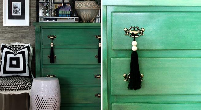 C moda en acabado verde envejecido revista muebles - Muebles pintados de colores ...