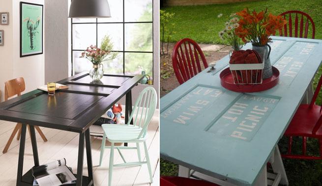 Hazlo t mismo mesas con puertas recicladas revista - Mesas con puertas ...
