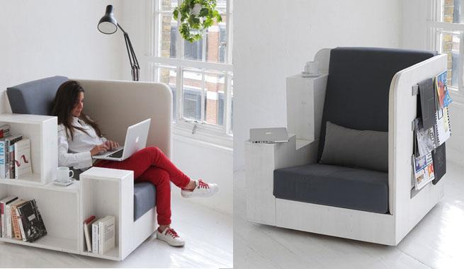 Sill n con biblioteca incorporada revista muebles for Sillon cama pequeno