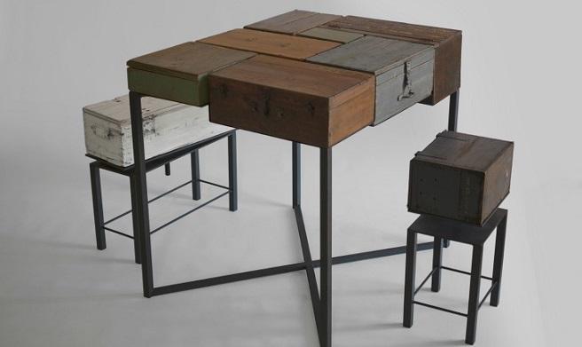 Mesa de estilo industrial realizada con viejas cajas de - Como hacer una mesa estilo industrial ...