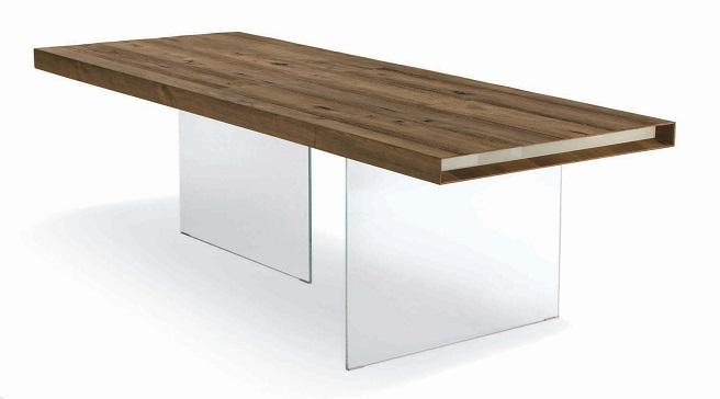 Mesa de madera maciza con soporte de vidrio revista for Mesas de vidrio de diseno