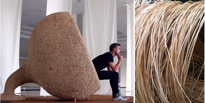 Sillón nido sostenible elaborado con ratán