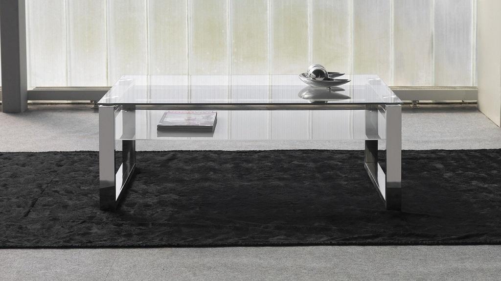 Revista muebles mobiliario de dise o - Mesa centro cristal y acero ...