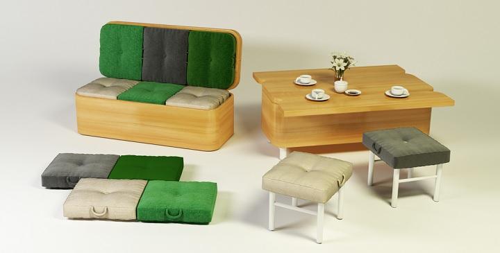 sofa convertible en mesa de comedor