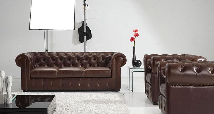 Muebles en cuero marron Portobello