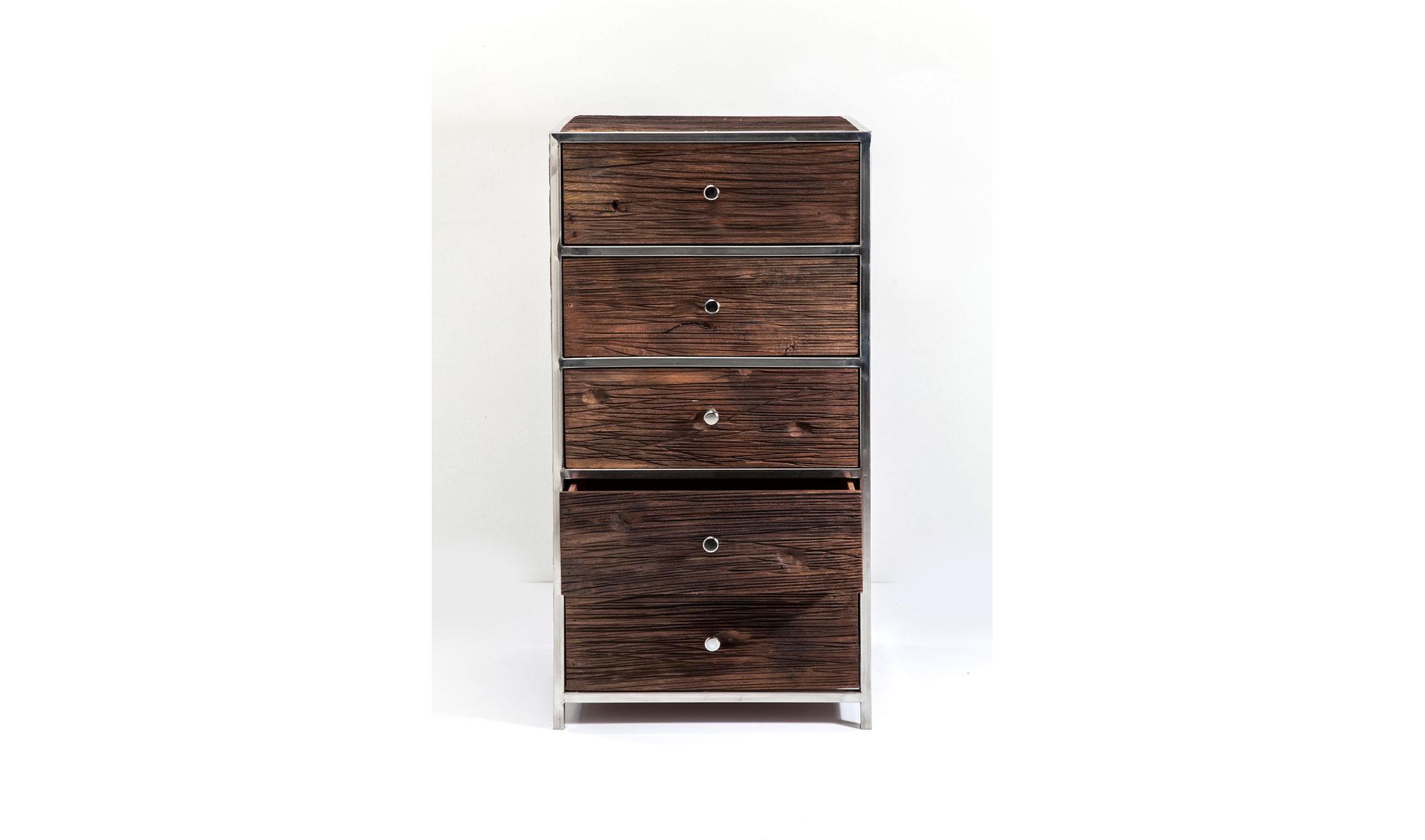 Muebles de madera tallada y piel natural de vaca (1022)