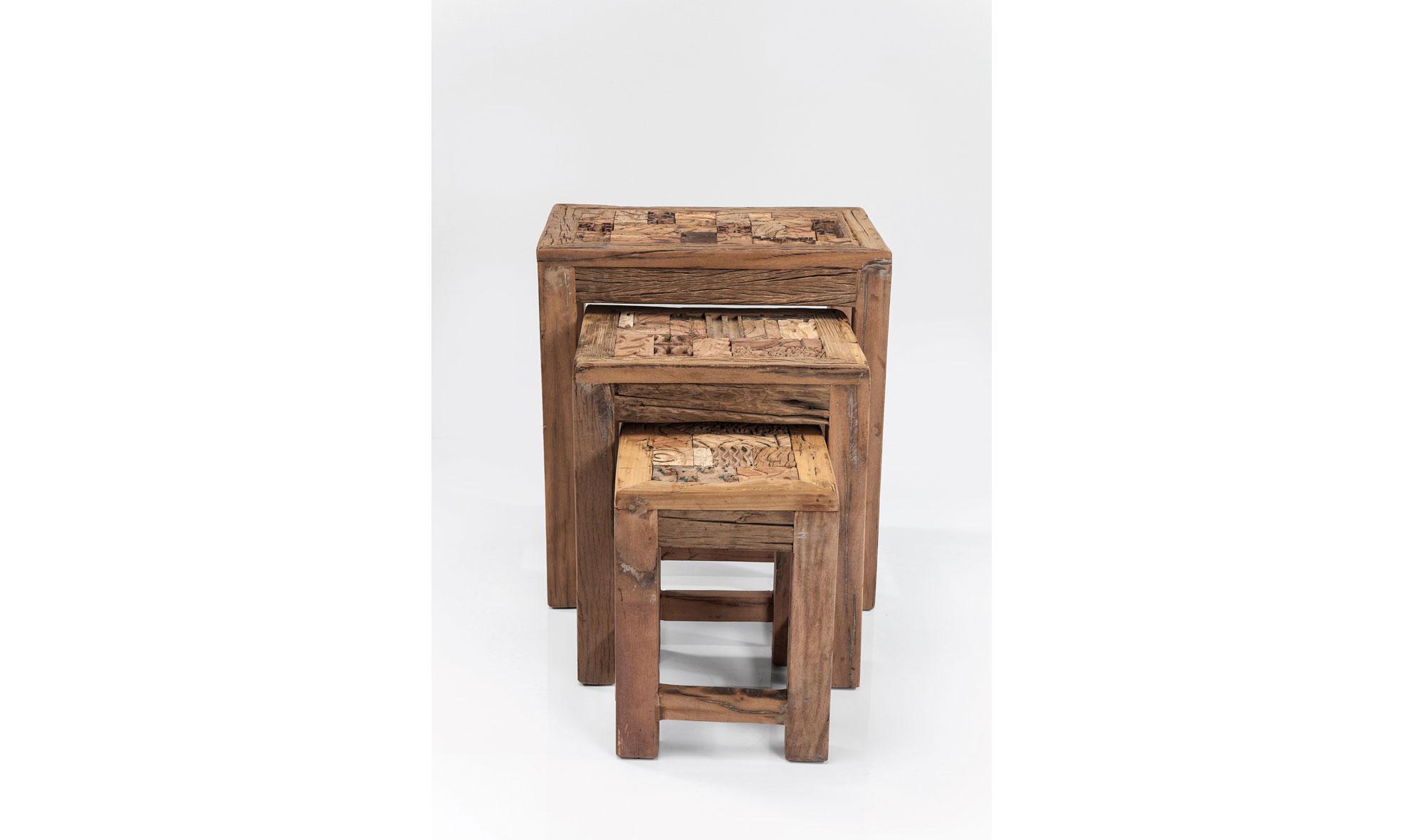 Muebles de madera tallada y piel natural de vaca (322)