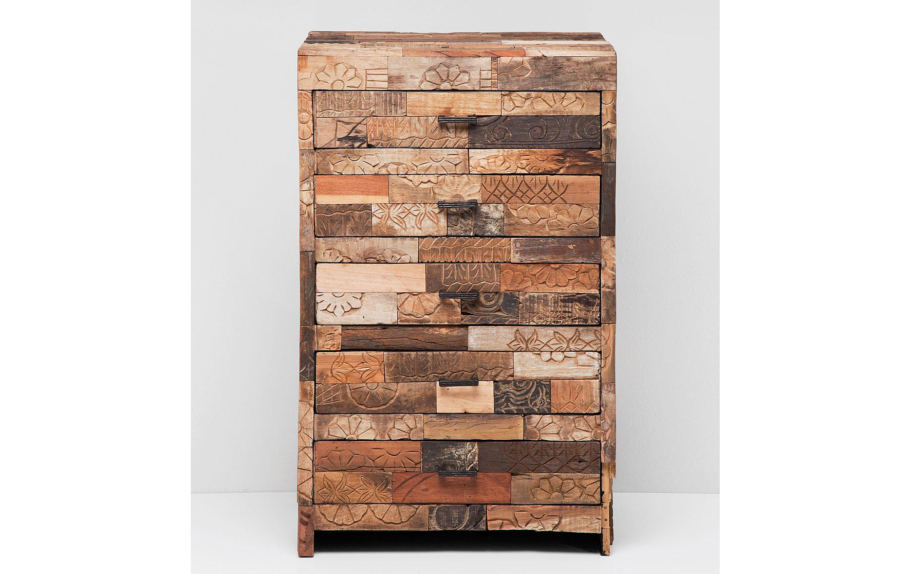 Muebles de madera tallada y piel natural de vaca (922)