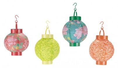4 farolillos luminosos de papel multicolor