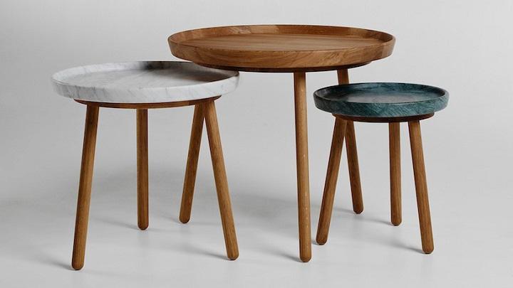 Mesas auxiliares de madera de roble y m rmol revista for Mesas auxiliares de diseno